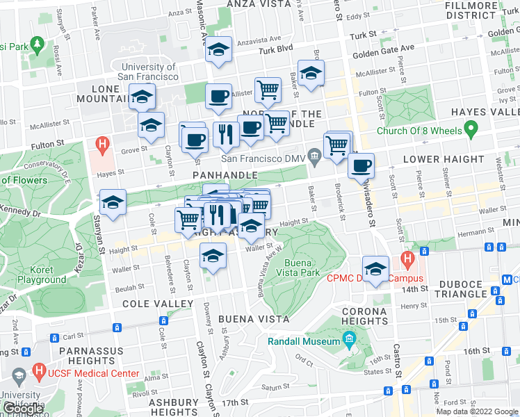 map of restaurants, bars, coffee shops, grocery stores, and more near Page Street & Central Avenue in San Francisco