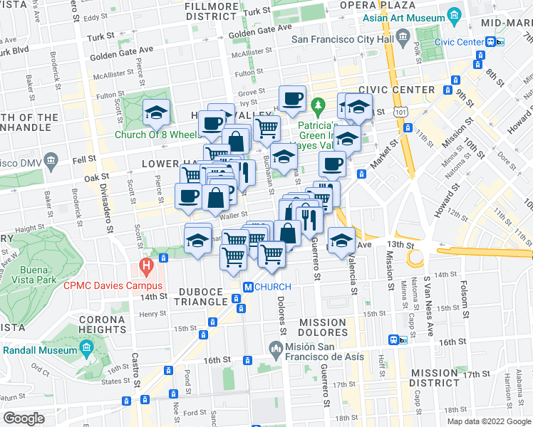 map of restaurants, bars, coffee shops, grocery stores, and more near 231 Waller Street in San Francisco
