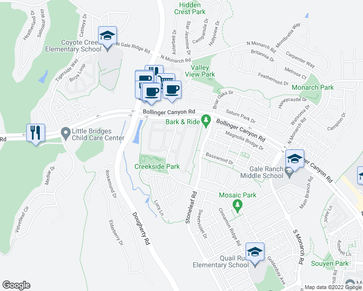 map of restaurants, bars, coffee shops, grocery stores, and more near 3027 Cedarwood Loop in San Ramon