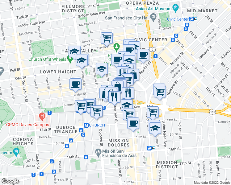 map of restaurants, bars, coffee shops, grocery stores, and more near 1844 Market Street in San Francisco