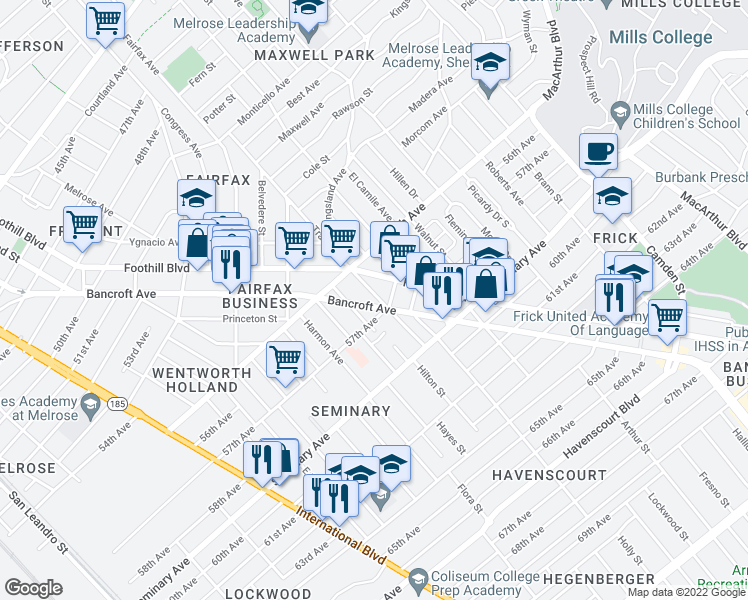 map of restaurants, bars, coffee shops, grocery stores, and more near 5650 Bancroft Avenue in Oakland