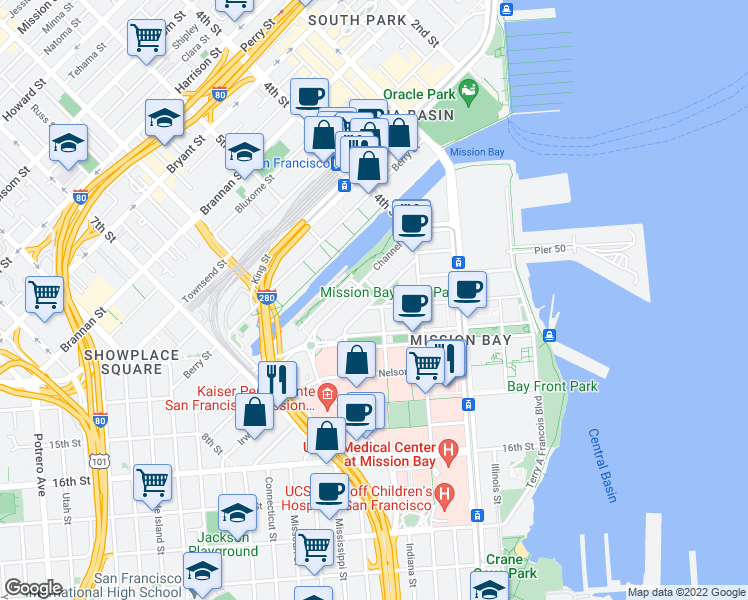 map of restaurants, bars, coffee shops, grocery stores, and more near Long Bridge Street in San Francisco