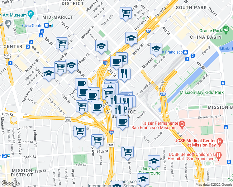 map of restaurants, bars, coffee shops, grocery stores, and more near 855 Brannan Street in San Francisco