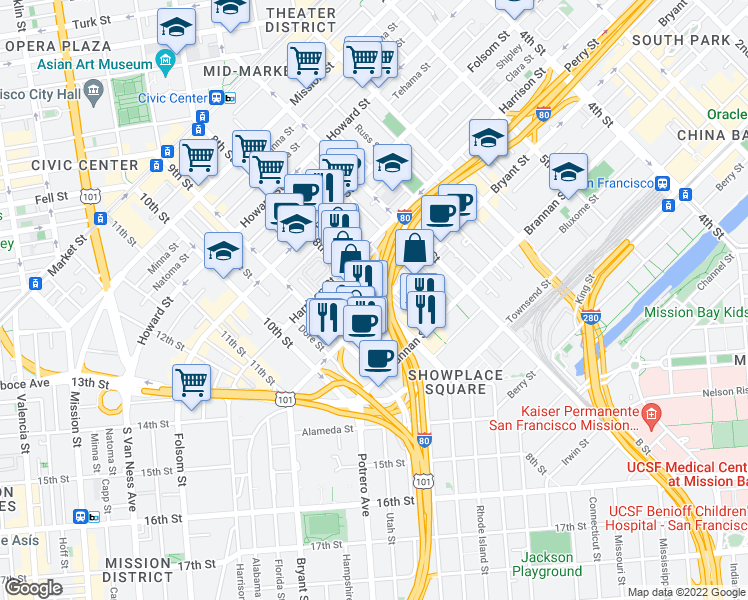 map of restaurants, bars, coffee shops, grocery stores, and more near 8th Street in San Francisco