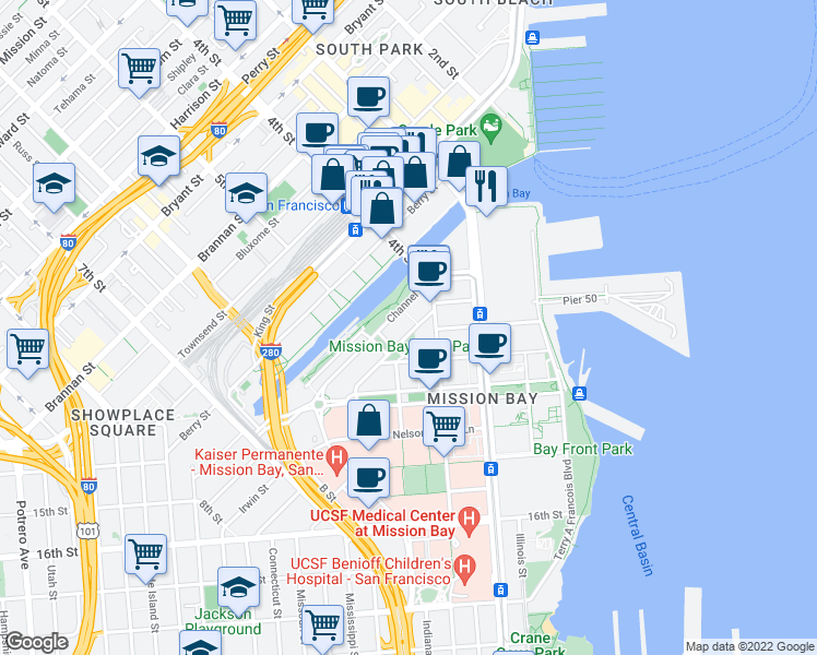 map of restaurants, bars, coffee shops, grocery stores, and more near 690 Long Bridge Street in San Francisco