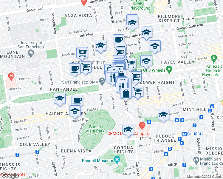 map of restaurants, bars, coffee shops, grocery stores, and more near Oak St & Broderick St in San Francisco