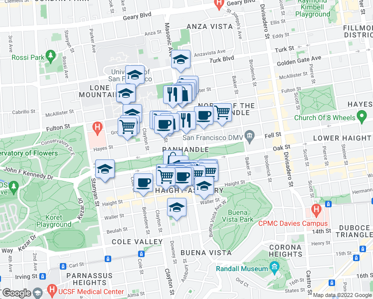 map of restaurants, bars, coffee shops, grocery stores, and more near Fell Street & Masonic Avenue in San Francisco