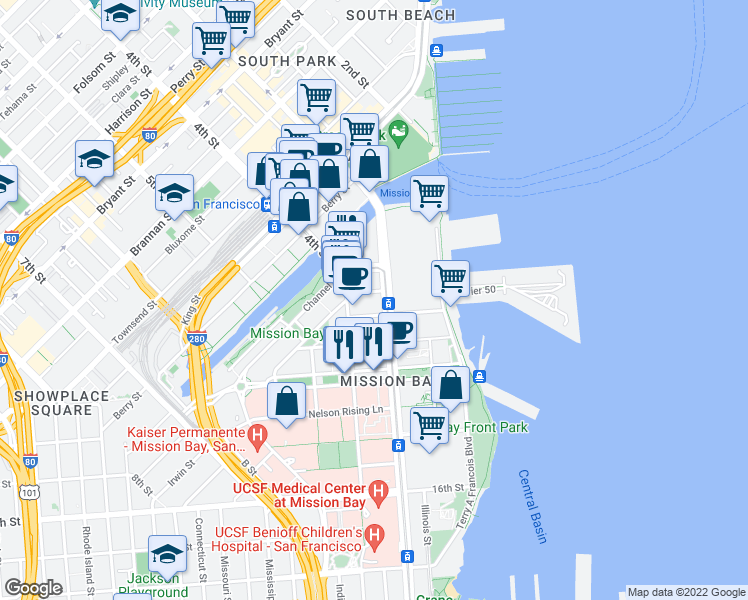 map of restaurants, bars, coffee shops, grocery stores, and more near 1155 4th Street in San Francisco