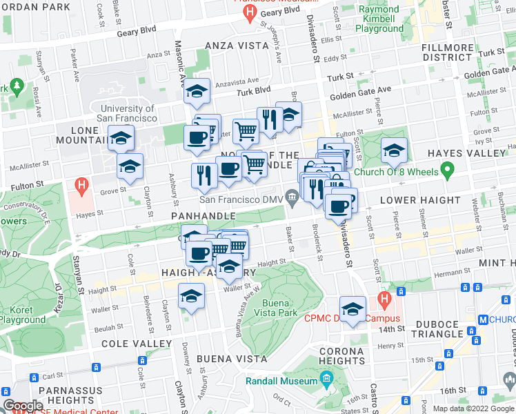 map of restaurants, bars, coffee shops, grocery stores, and more near Fell St & Lyon St in San Francisco
