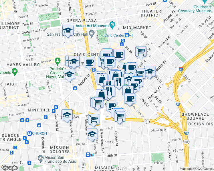 map of restaurants, bars, coffee shops, grocery stores, and more near 1018 Minna Street in San Francisco