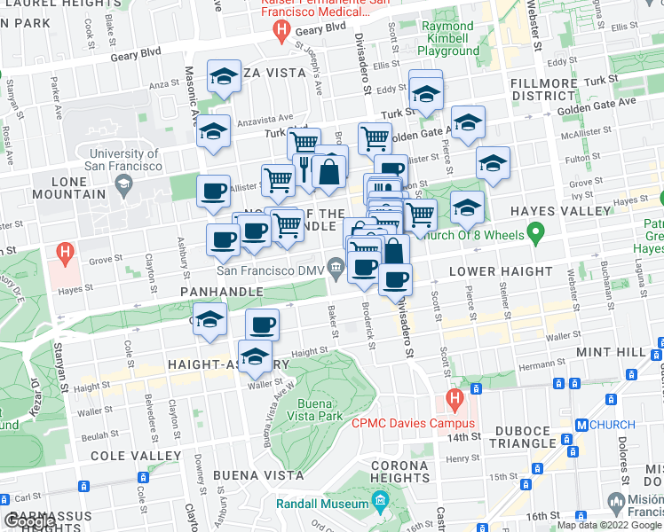 map of restaurants, bars, coffee shops, grocery stores, and more near 312 Baker Street in San Francisco
