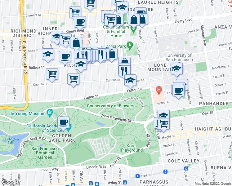 map of restaurants, bars, coffee shops, grocery stores, and more near Fulton Street & 2nd Avenue in San Francisco