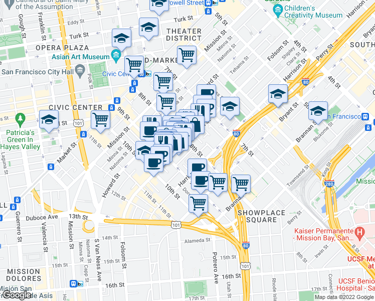map of restaurants, bars, coffee shops, grocery stores, and more near 20 Ringold Street in San Francisco