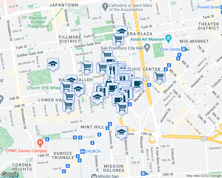 map of restaurants, bars, coffee shops, grocery stores, and more near 325 Octavia Street in San Francisco