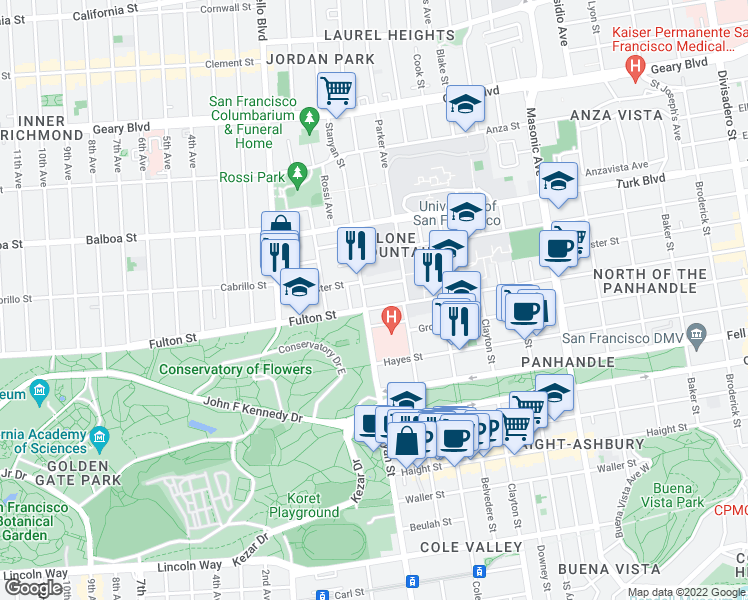 map of restaurants, bars, coffee shops, grocery stores, and more near 322 Stanyan Street in San Francisco