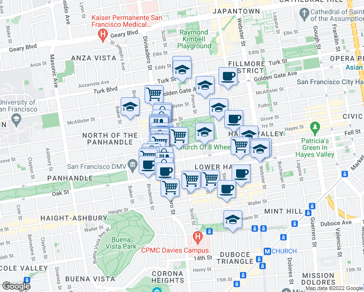 map of restaurants, bars, coffee shops, grocery stores, and more near Scott Street & Hayes Street in San Francisco