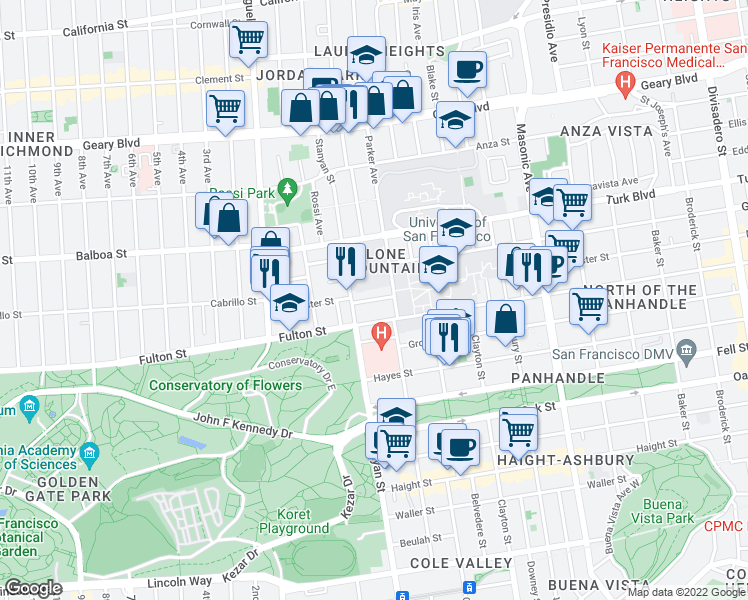 map of restaurants, bars, coffee shops, grocery stores, and more near 2540 McAllister Street in San Francisco