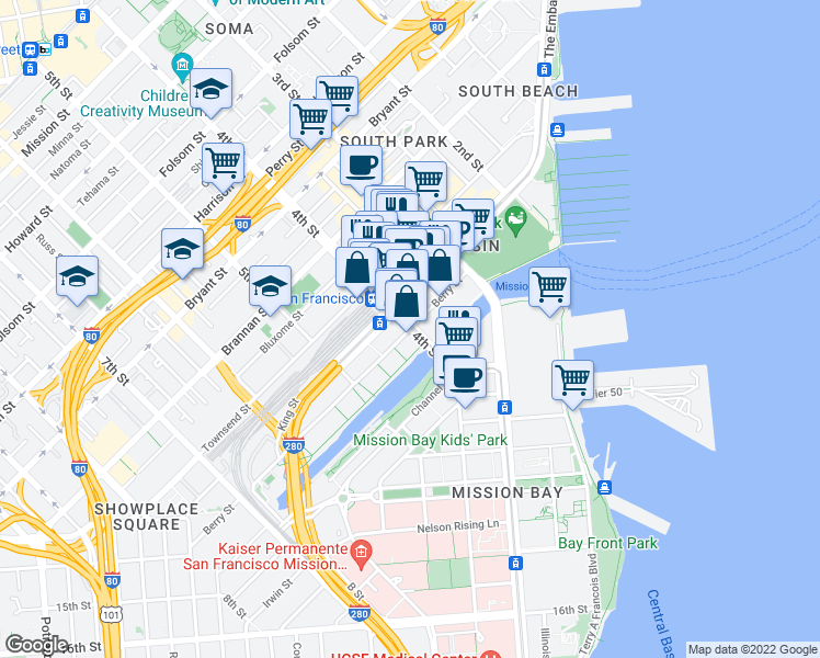 map of restaurants, bars, coffee shops, grocery stores, and more near 4th Street & Berry Street in San Francisco