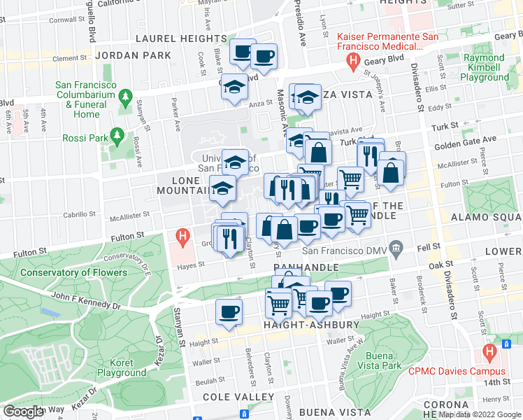 map of restaurants, bars, coffee shops, grocery stores, and more near 10 Loyola Terrace in San Francisco