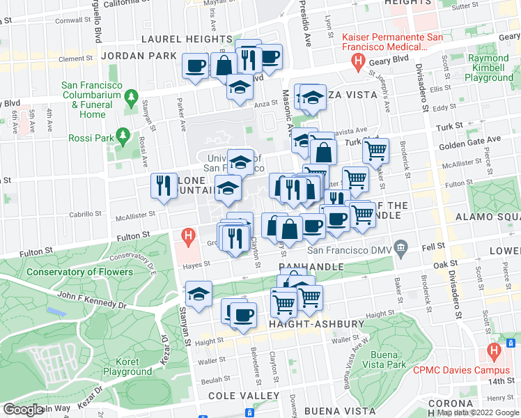 map of restaurants, bars, coffee shops, grocery stores, and more near 15 Loyola Terrace in San Francisco