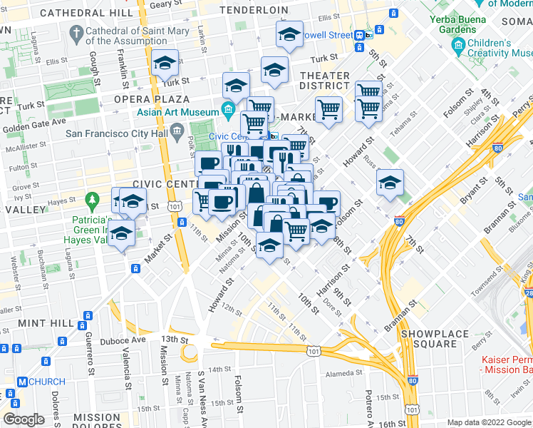 map of restaurants, bars, coffee shops, grocery stores, and more near 774 Natoma Street in San Francisco