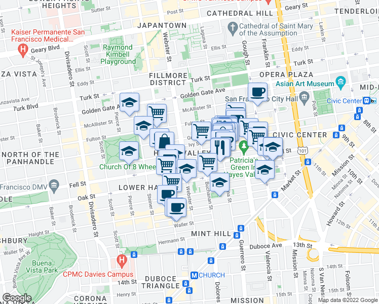 map of restaurants, bars, coffee shops, grocery stores, and more near 768 Hayes St in San Francisco