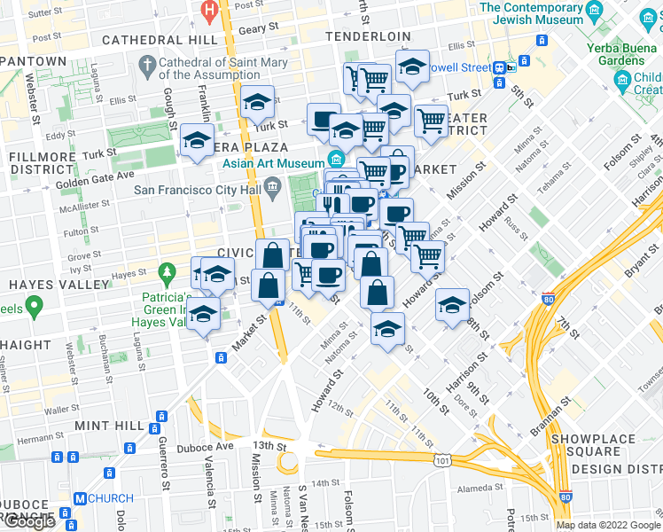 map of restaurants, bars, coffee shops, grocery stores, and more near 1355 Market Street in San Francisco