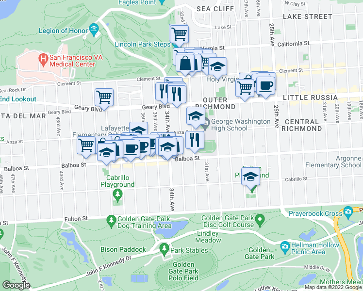 map of restaurants, bars, coffee shops, grocery stores, and more near 33rd Avenue in San Francisco