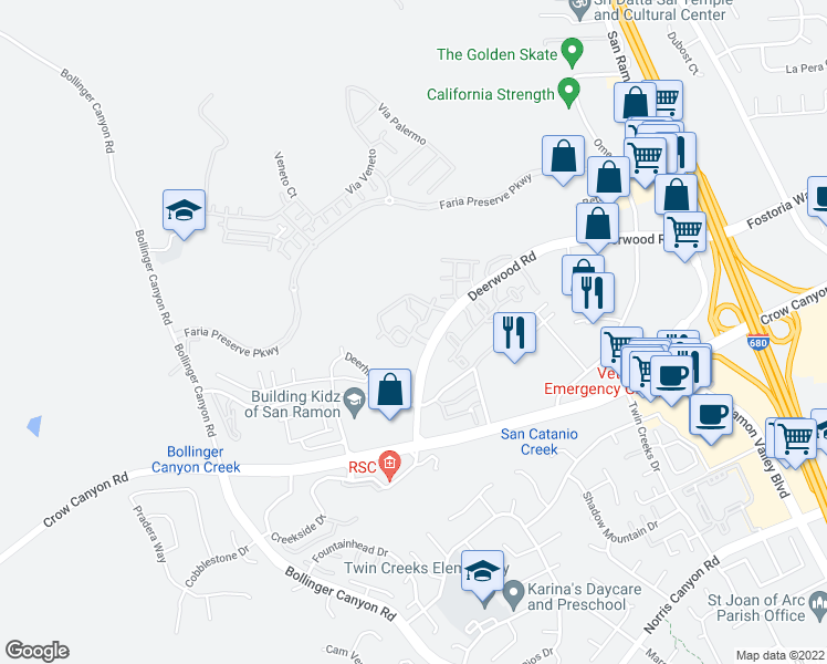 map of restaurants, bars, coffee shops, grocery stores, and more near 2200-3398 Promontory Circle in San Ramon
