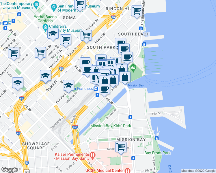 map of restaurants, bars, coffee shops, grocery stores, and more near 219 King Street in San Francisco