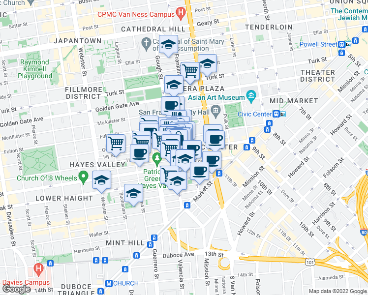 map of restaurants, bars, coffee shops, grocery stores, and more near 340 Hayes Street in San Francisco