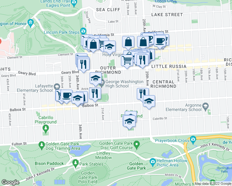 map of restaurants, bars, coffee shops, grocery stores, and more near 633 29th Avenue in San Francisco
