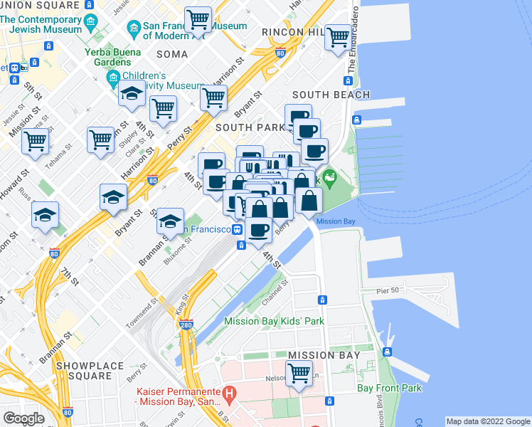 map of restaurants, bars, coffee shops, grocery stores, and more near in San Francisco