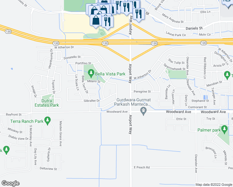map of restaurants, bars, coffee shops, grocery stores, and more near Chateau Lane in Manteca