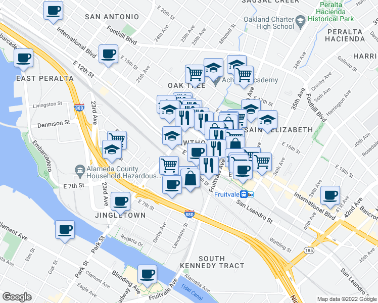 map of restaurants, bars, coffee shops, grocery stores, and more near 30th Ave in Oakland