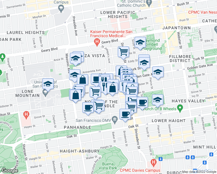 map of restaurants, bars, coffee shops, grocery stores, and more near 720 Baker Street in San Francisco