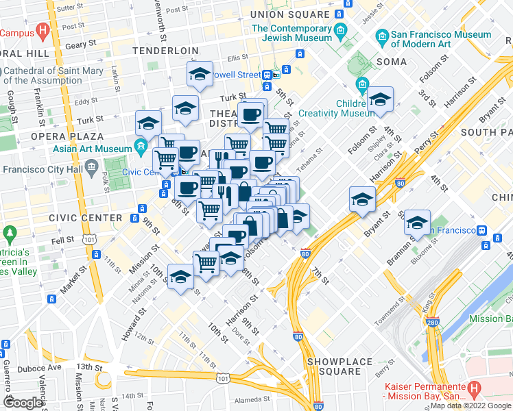 map of restaurants, bars, coffee shops, grocery stores, and more near 1097 Howard Street in San Francisco
