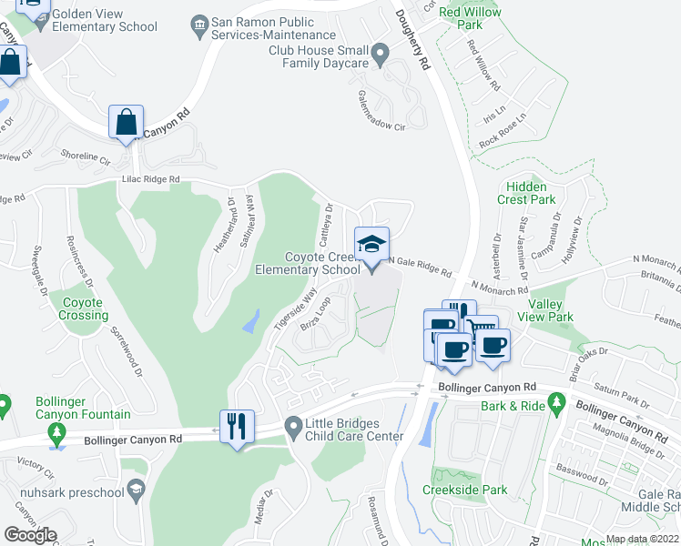 map of restaurants, bars, coffee shops, grocery stores, and more near 7918 Persica Court in San Ramon