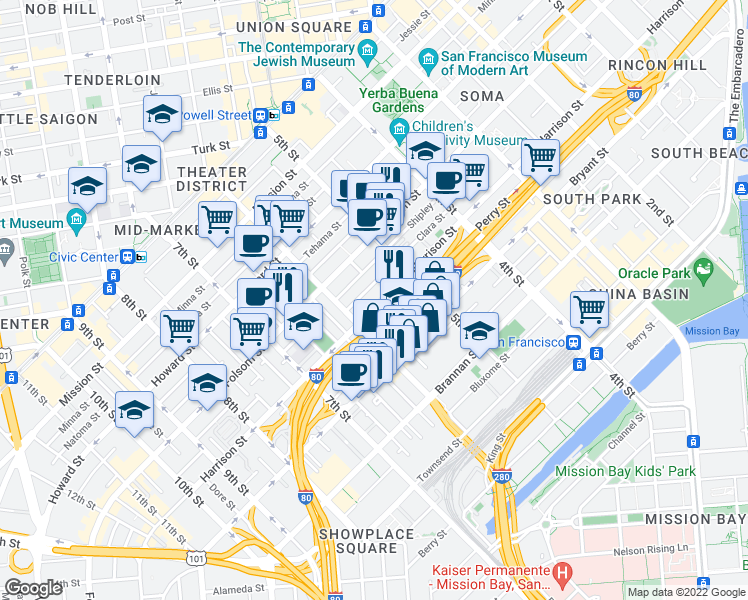 map of restaurants, bars, coffee shops, grocery stores, and more near 960 Harrison Street in San Francisco