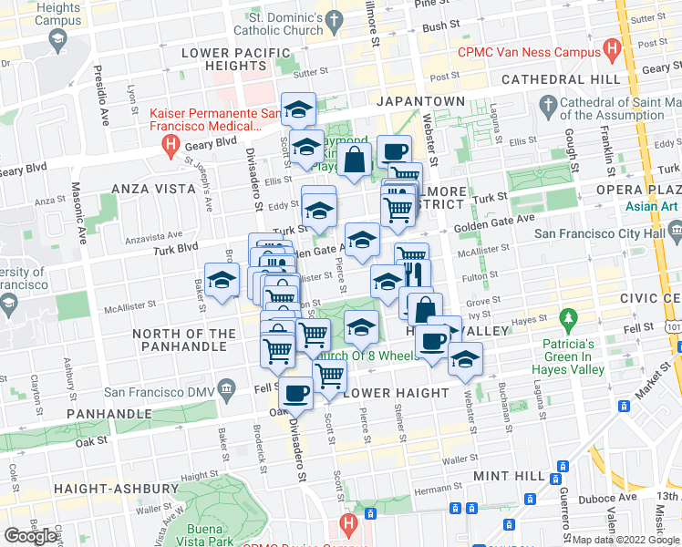 map of restaurants, bars, coffee shops, grocery stores, and more near McAllister St & Pierce St in San Francisco
