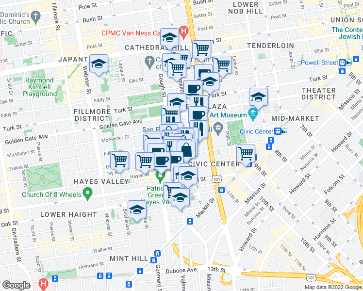 map of restaurants, bars, coffee shops, grocery stores, and more near 345 Fulton Street in San Francisco