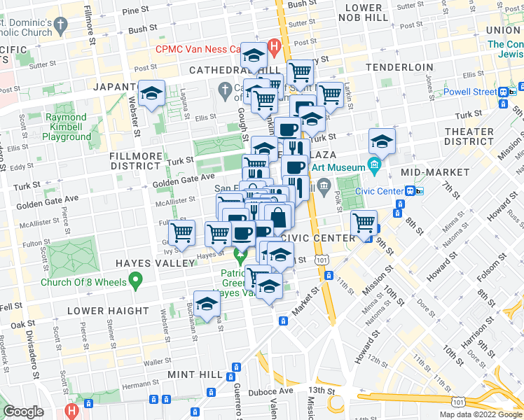 map of restaurants, bars, coffee shops, grocery stores, and more near 365 Fulton Street in San Francisco