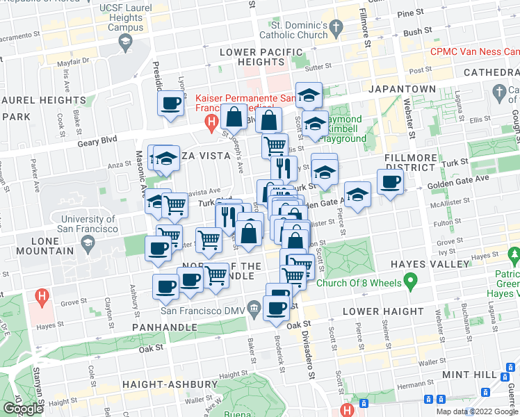 map of restaurants, bars, coffee shops, grocery stores, and more near 900 Broderick Street in San Francisco