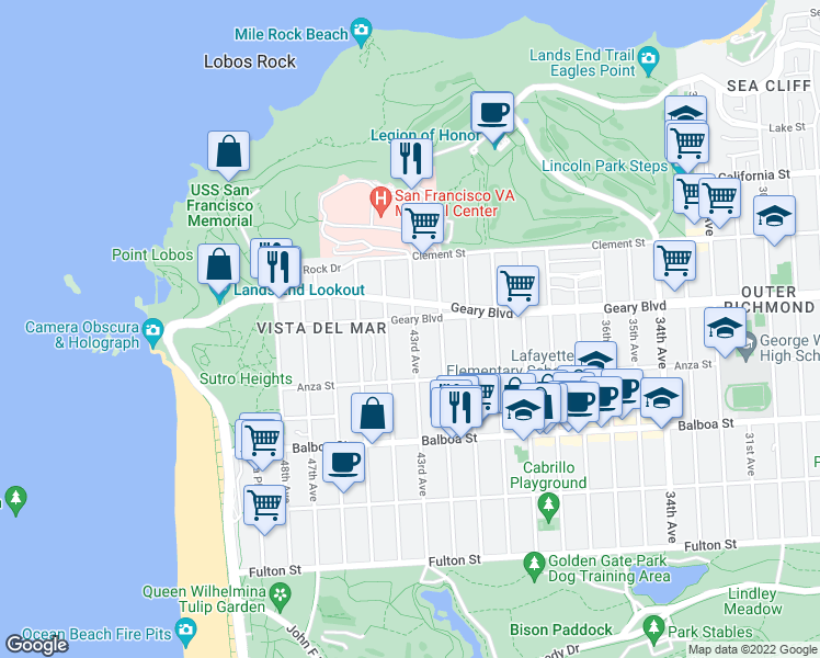 map of restaurants, bars, coffee shops, grocery stores, and more near 501 43rd Avenue in San Francisco