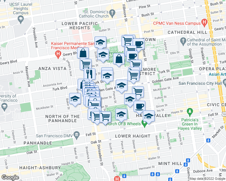 map of restaurants, bars, coffee shops, grocery stores, and more near 925 Pierce Street in San Francisco