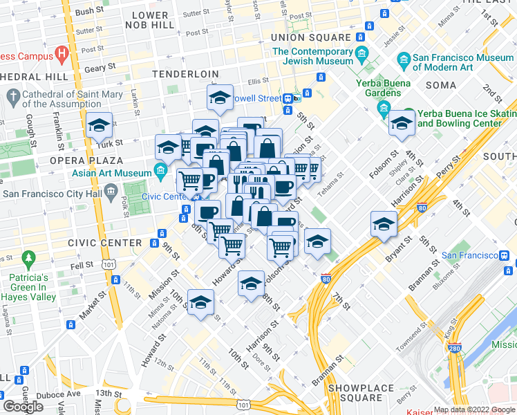 map of restaurants, bars, coffee shops, grocery stores, and more near 588 Minna Street in San Francisco