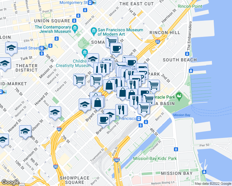 map of restaurants, bars, coffee shops, grocery stores, and more near 504 4th Street in San Francisco