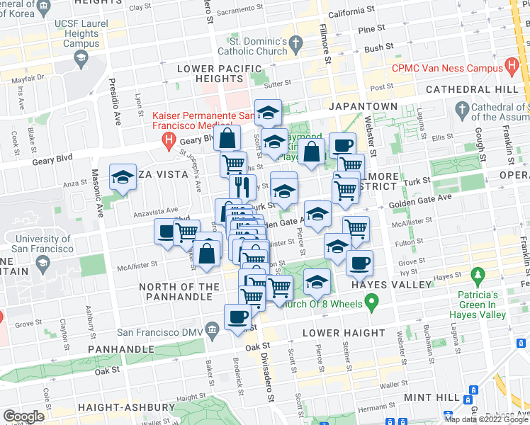 map of restaurants, bars, coffee shops, grocery stores, and more near 1045 Scott Street in San Francisco