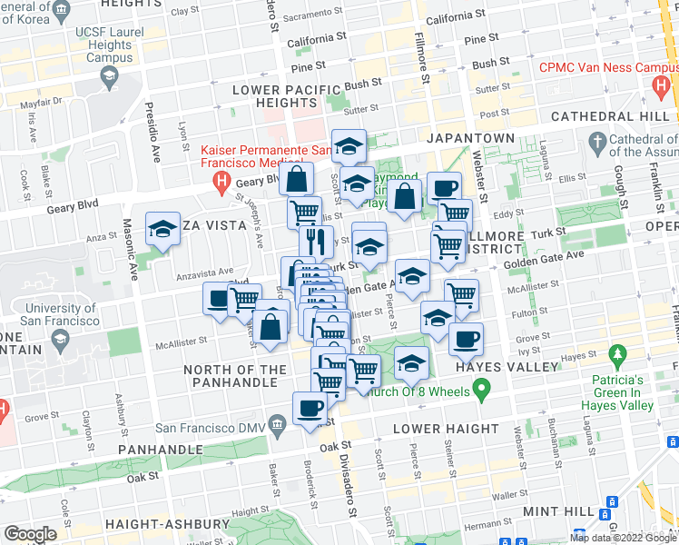 map of restaurants, bars, coffee shops, grocery stores, and more near 1725 Turk Street in San Francisco