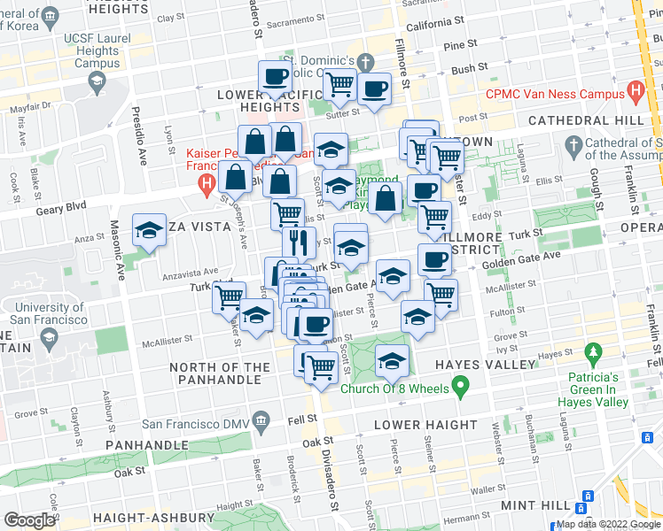 map of restaurants, bars, coffee shops, grocery stores, and more near Turk Street & Scott Street in San Francisco